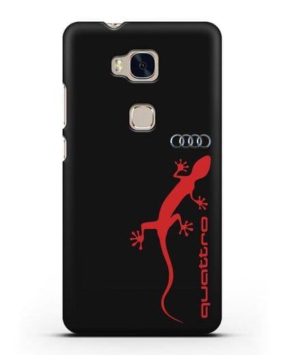 Чехол с логотипом Audi Quattro силикон черный для Honor 5X