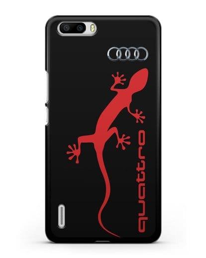 Чехол с логотипом Audi Quattro силикон черный для Honor 6 Plus