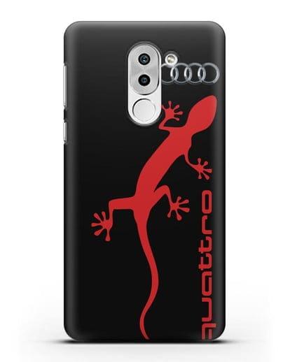 Чехол с логотипом Audi Quattro силикон черный для Huawei Mate 9 Lite