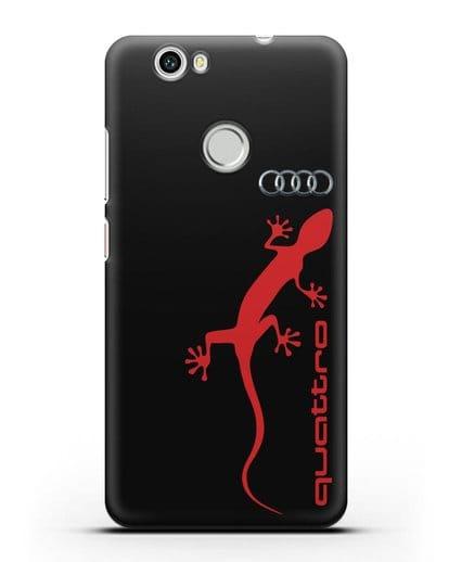 Чехол с логотипом Audi Quattro силикон черный для Huawei Nova
