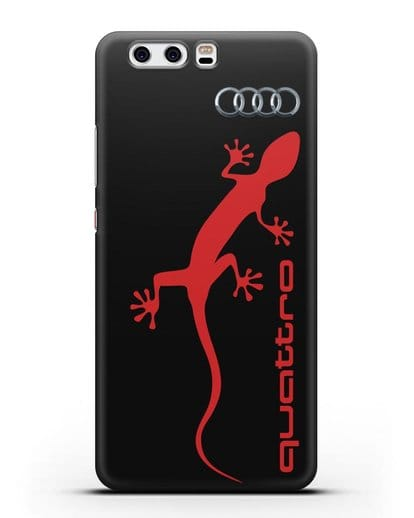 Чехол с логотипом Audi Quattro силикон черный для Huawei P10