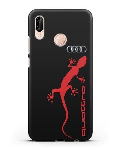Чехол с логотипом Audi Quattro силикон черный для Huawei P20 Lite