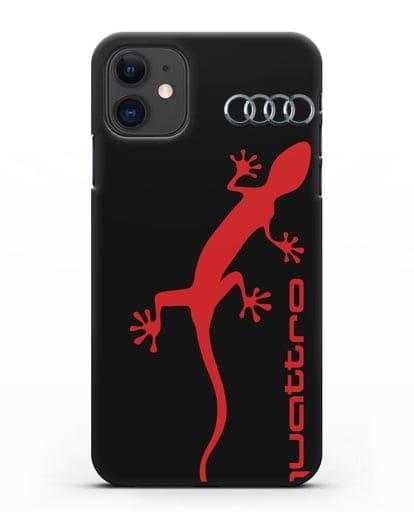 Чехол с логотипом Audi Quattro силикон черный для iPhone 11