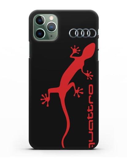 Чехол с логотипом Audi Quattro силикон черный для iPhone 11 Pro