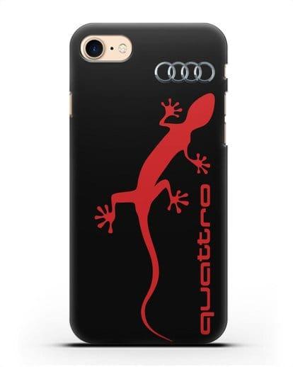 Чехол с логотипом Audi Quattro силикон черный для iPhone 7