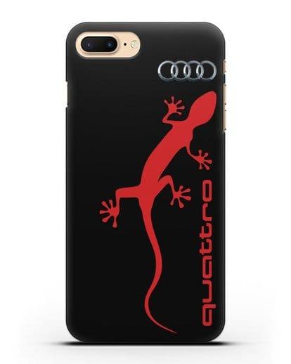 Чехол с логотипом Audi Quattro силикон черный для iPhone 7 Plus