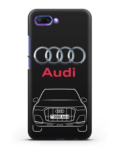 Чехол Audi Q7 с номерным знаком силикон черный для Honor 10