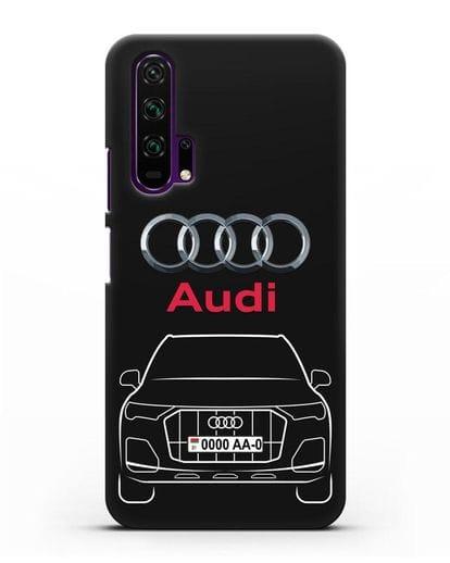Чехол Audi Q7 с номерным знаком силикон черный для Honor 20 Pro