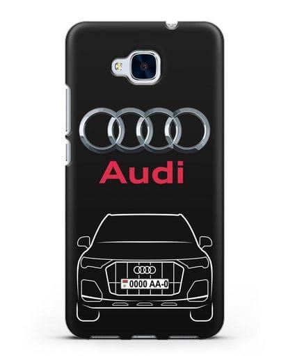 Чехол Audi Q7 с номерным знаком силикон черный для Honor 5C