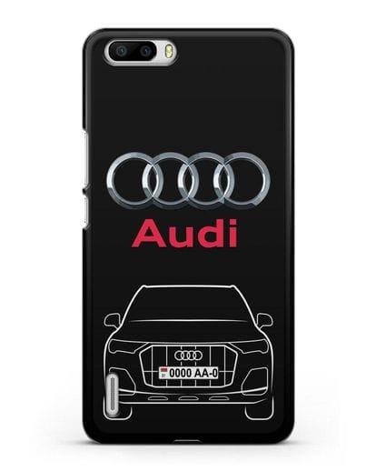 Чехол Audi Q7 с номерным знаком силикон черный для Honor 6 Plus