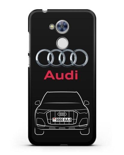 Чехол Audi Q7 с номерным знаком силикон черный для Honor 6A