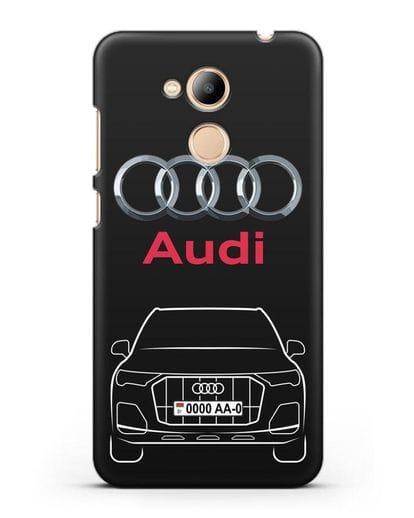 Чехол Audi Q7 с номерным знаком силикон черный для Honor 6C Pro