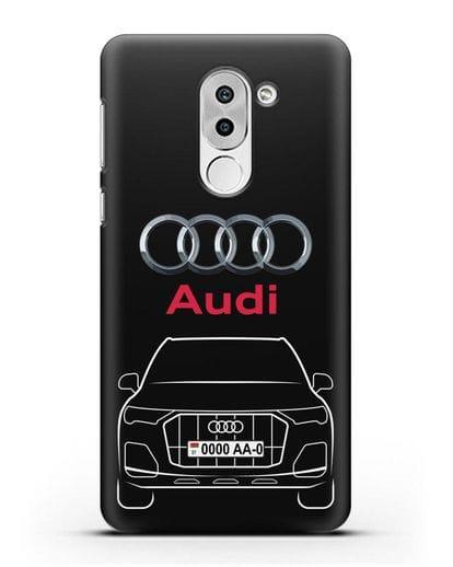 Чехол Audi Q7 с номерным знаком силикон черный для Honor 6X