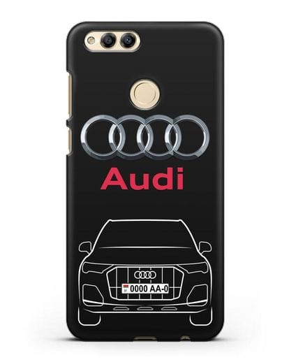 Чехол Audi Q7 с номерным знаком силикон черный для Honor 7X