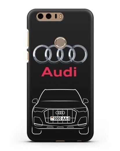 Чехол Audi Q7 с номерным знаком силикон черный для Honor 8