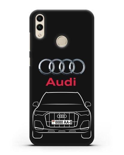 Чехол Audi Q7 с номерным знаком силикон черный для Honor 8C