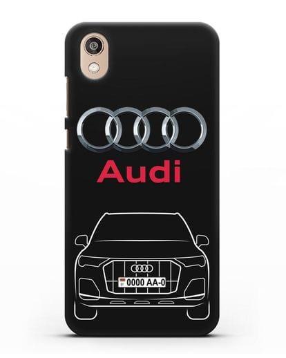 Чехол Audi Q7 с номерным знаком силикон черный для Honor 8S