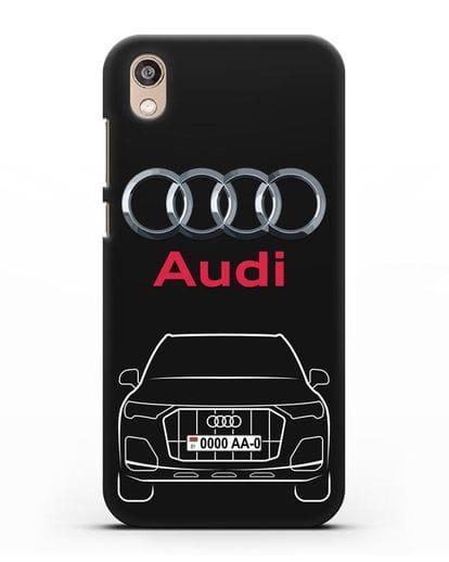 Чехол Audi Q7 с номерным знаком силикон черный для Honor 8S Prime