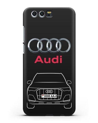 Чехол Audi Q7 с номерным знаком силикон черный для Honor 9