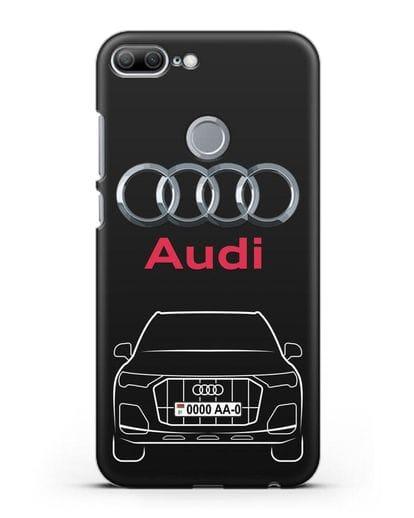 Чехол Audi Q7 с номерным знаком силикон черный для Honor 9 Lite