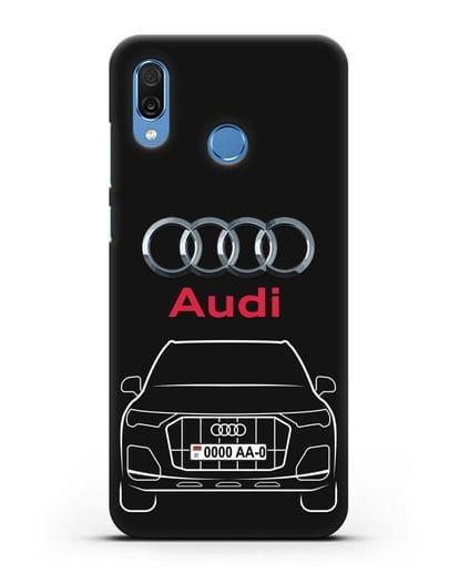 Чехол Audi Q7 с номерным знаком силикон черный для Honor Play