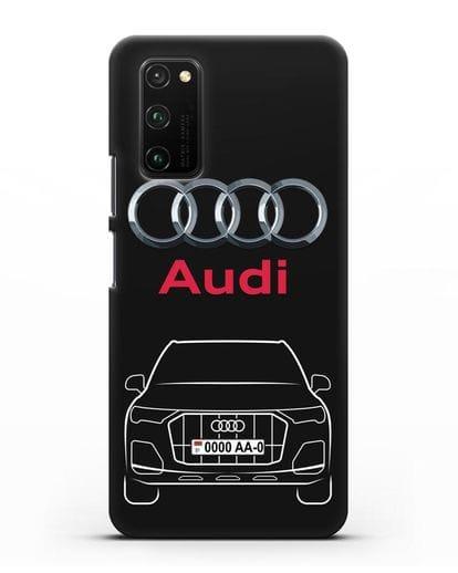 Чехол Audi Q7 с номерным знаком силикон черный для Honor View 30 Pro