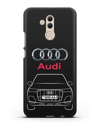 Чехол Audi Q7 с номерным знаком силикон черный для Huawei Mate 20 Lite