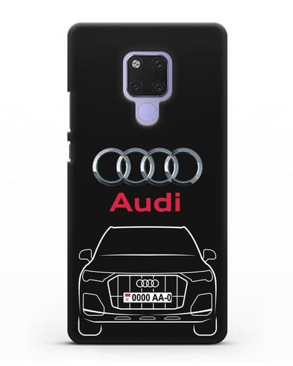 Чехол Audi Q7 с номерным знаком силикон черный для Huawei Mate 20X