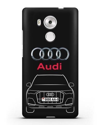 Чехол Audi Q7 с номерным знаком силикон черный для Huawei Mate 8