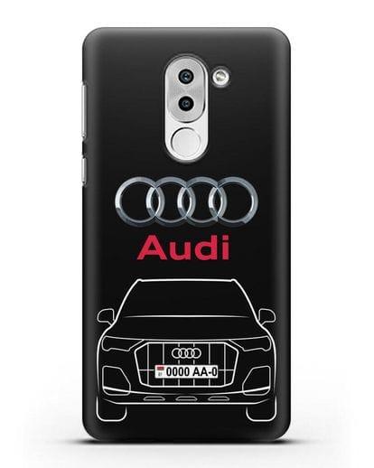 Чехол Audi Q7 с номерным знаком силикон черный для Huawei Mate 9 Lite