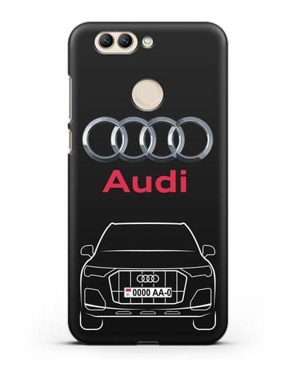 Чехол Audi Q7 с номерным знаком силикон черный для Huawei Nova 2 Plus