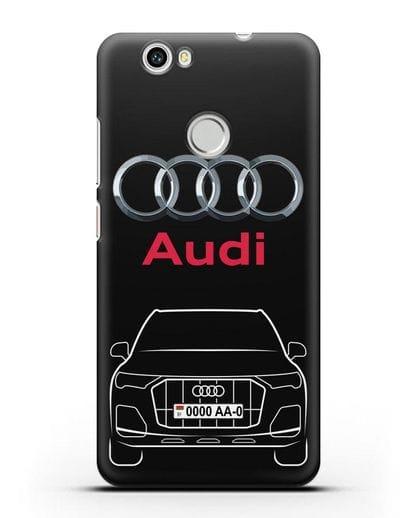 Чехол Audi Q7 с номерным знаком силикон черный для Huawei Nova