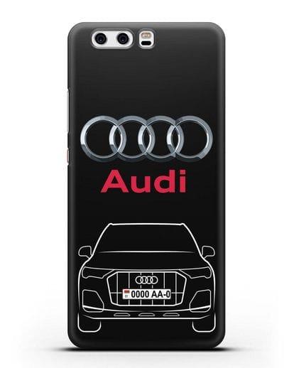 Чехол Audi Q7 с номерным знаком силикон черный для Huawei P10