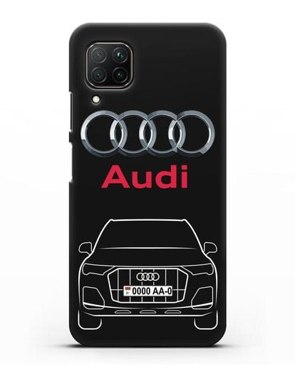 Чехол Audi Q7 с номерным знаком силикон черный для Huawei P40 lite