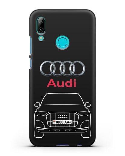 Чехол Audi Q7 с номерным знаком силикон черный для Huawei P Smart 2019