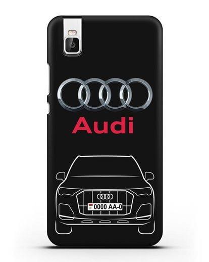 Чехол Audi Q7 с номерным знаком силикон черный для Huawei Shot X