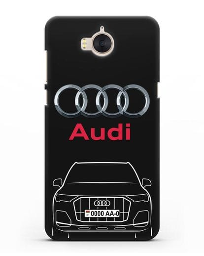 Чехол Audi Q7 с номерным знаком силикон черный для Huawei Y5 2017