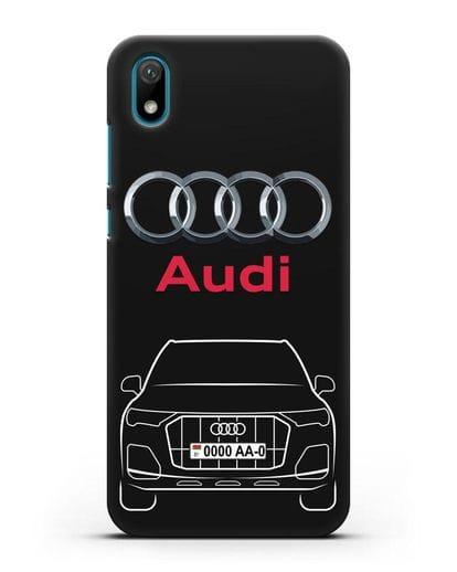 Чехол Audi Q7 с номерным знаком силикон черный для Huawei Y5 2019
