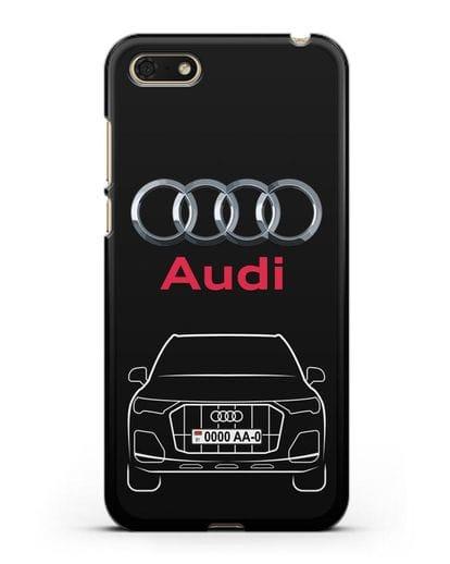 Чехол Audi Q7 с номерным знаком силикон черный для Huawei Y5 Prime 2018