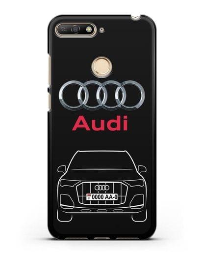 Чехол Audi Q7 с номерным знаком силикон черный для Huawei Y6 Prime 2018
