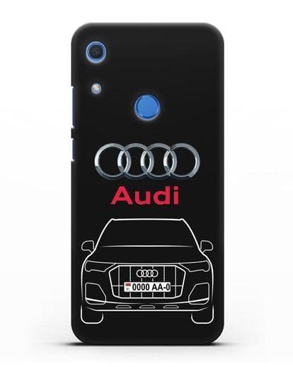 Чехол Audi Q7 с номерным знаком силикон черный для Huawei Y6s