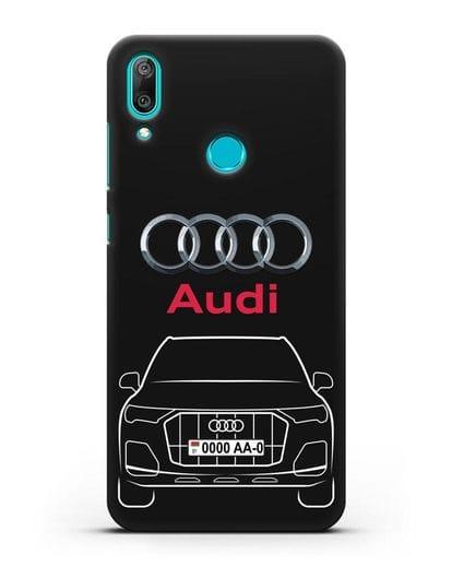 Чехол Audi Q7 с номерным знаком силикон черный для Huawei Y7 2019