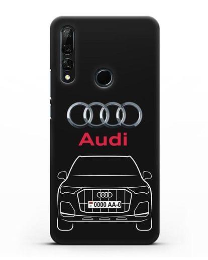 Чехол Audi Q7 с номерным знаком силикон черный для Huawei Y9 Prime 2019