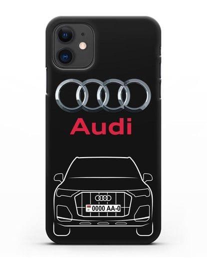 Чехол Audi Q7 с номерным знаком силикон черный для iPhone 11