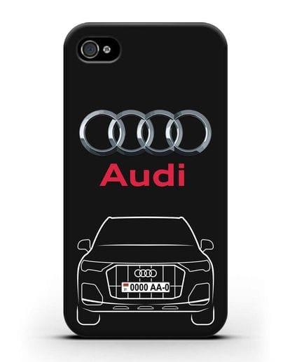 Чехол Audi Q7 с номерным знаком силикон черный для iPhone 4/4s