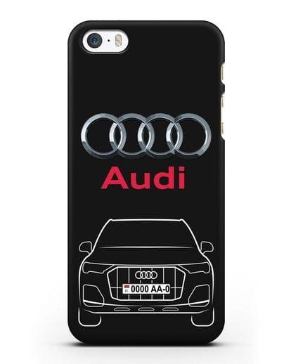 Чехол Audi Q7 с номерным знаком силикон черный для iPhone 5/5s/SE