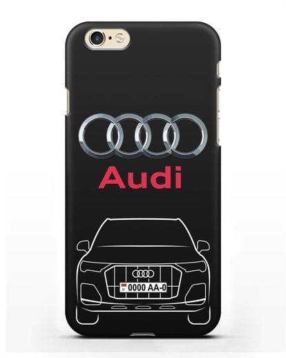 Чехол Audi Q7 с номерным знаком силикон черный для iPhone 6s