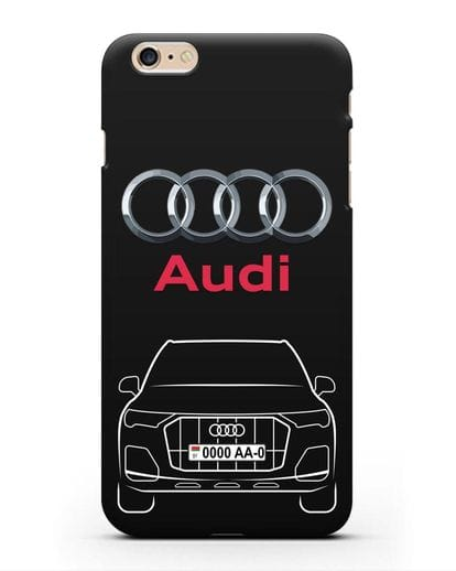 Чехол Audi Q7 с номерным знаком силикон черный для iPhone 6s Plus