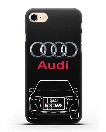 Чехол Audi Q7 с номерным знаком силикон черный для iPhone 7