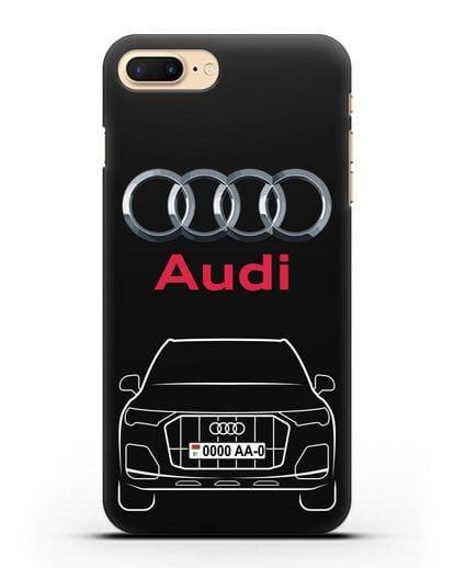 Чехол Audi Q7 с номерным знаком силикон черный для iPhone 7 Plus